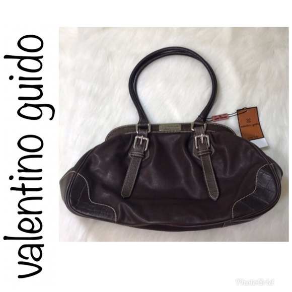Valentino Guido Roma Brown Leather Satchel Bag 2d83f0bce5194